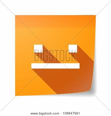 Long Shadow Vector Sticky Note Icon With A Emotionless Text Face
