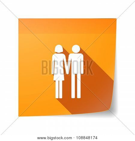 Long Shadow Vector Sticky Note Icon With A Heterosexual Couple Pictogram