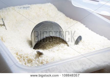 Background Image Of Rice In The Box Or Container For Protect Them From Bug, Water And Ant Etc.