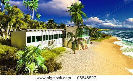 Beach resort in the tropical country