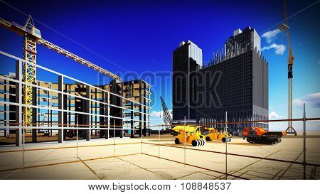 New buildings being put up at the construction site