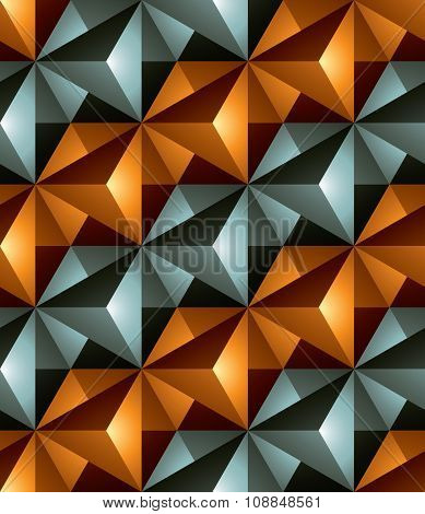 Colorful Illusive Abstract Geometric Seamless Pattern With 3D Cubes. Vector Stylized Texture