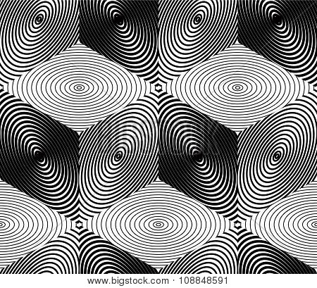 Endless Monochrome Symmetric Pattern, Graphic Design. Geometric Intertwine Optical Composition.
