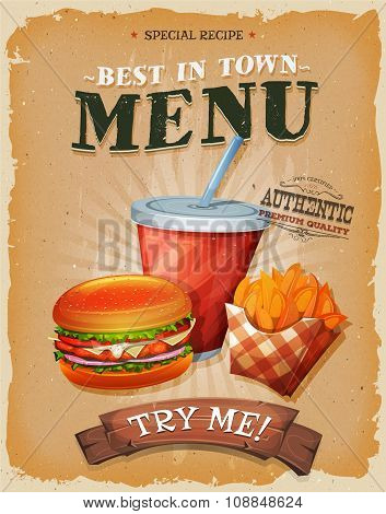 Grunge And Vintage Fast Food Menu Poster