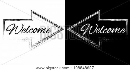 Welcome On A Black And White Arrows
