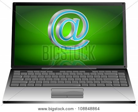 Laptop computer with Email symbol