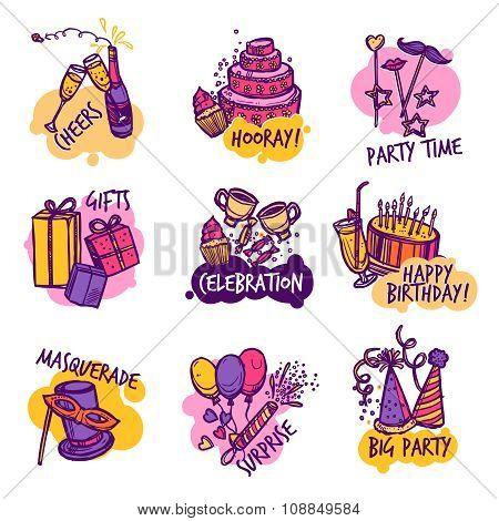 Birthday party colorful emblems labels set