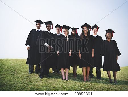 Group Students Hands Raised Graduation Concept