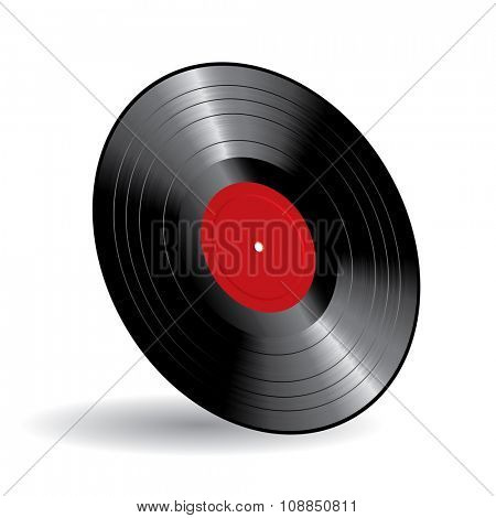 vector vinyl long play record with blank red label