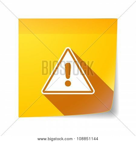 Long Shadow Vector Sticky Note Icon With A Warning Signal