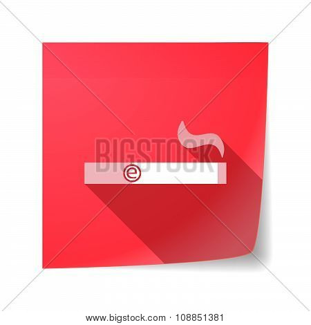 Long Shadow Vector Sticky Note Icon With An Electronic Cigarette