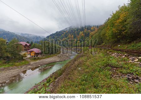 Railway And The Mountain In A Fog In Carpathians. Ukraine