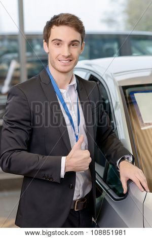 Salesman representing a vehicle.