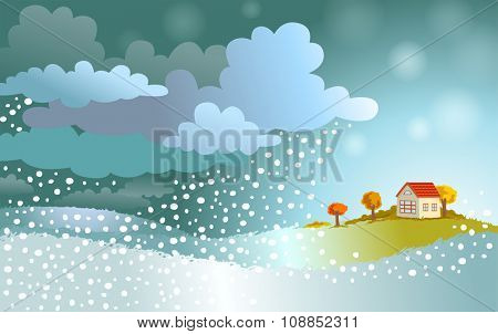 The winter comes - landscape with approaching a snowstorm on a small house.