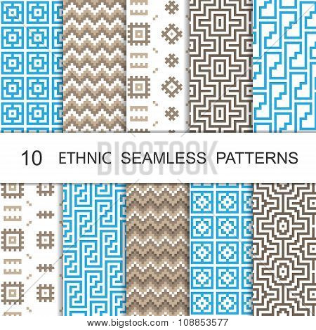 Seamless Ethnic Pattern Set. Ten Tribal Tiled Ornaments. Vector