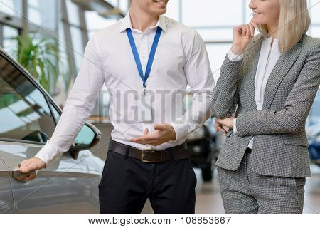 Salesman is offering his services.