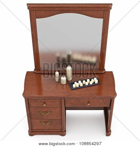 Dresser classic style with mirror, top view