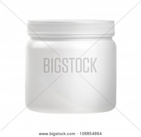 Medicine White Pill Bottle Isolated On A White Background With Clipping Path