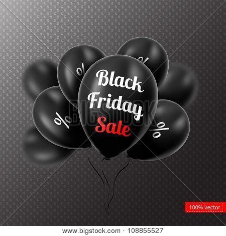 Vector illustration. Black Friday. Black balloons on a black bac