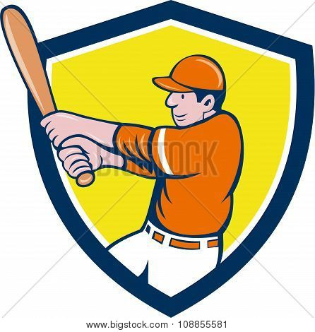 Baseball Player Batter Swinging Bat Crest Cartoon