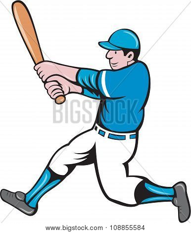 Baseball Player Batter Swinging Bat Isolated Cartoon