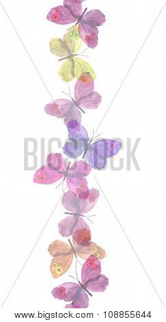Seamless light transparent ribbon frame with delicate butterflies