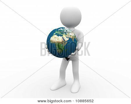 Humana 3D terra em suas mãos como sinal de proteção e poder