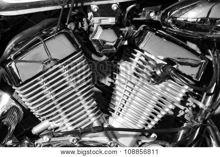 close-up of shiny motorcycle engine