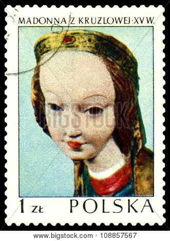 Vintage  Postage Stamp. Sculpture Of The Madonna.
