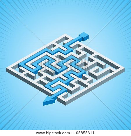 Isometric Maze, Labyrinth Solution Concept On A Blue Radial Background. Modern Infographic Template.