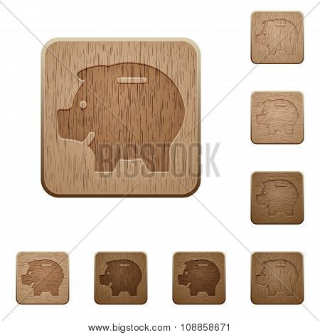 Piggy Bank Wooden Buttons