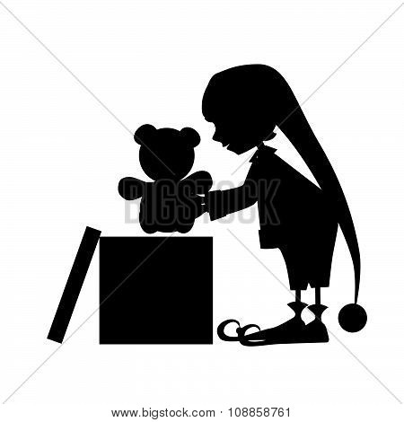 Christamas cute elf silhouette with bear toy