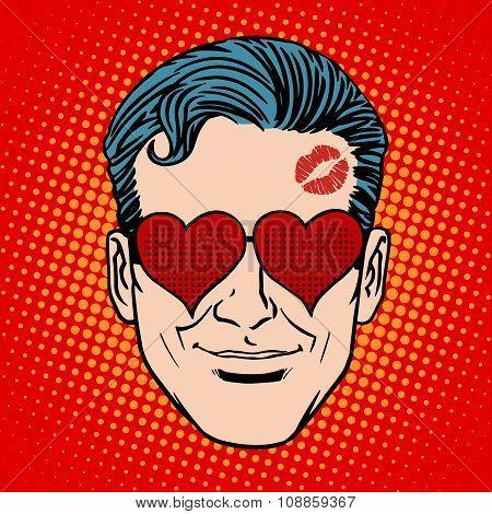 Retro Emoji lover man face