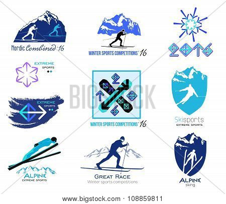 Set of cross-country skiing, winter sports badges for logos and labels.