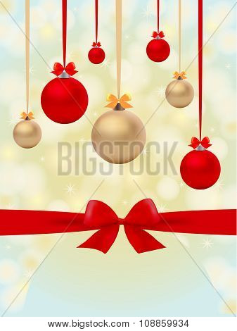 Christmas Backgroung With Balls And Bow