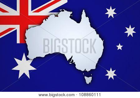Australia Map On Australian Flag