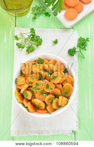 Salad From Fresh Carrots And Parsley