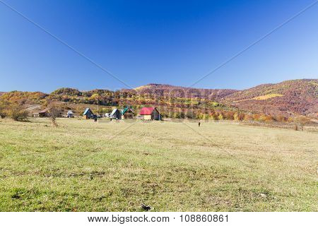 Rural Autumn Landscape In The Mountains .