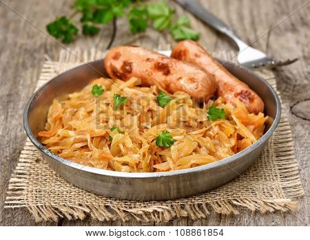 Stew Cabbage With Sausage