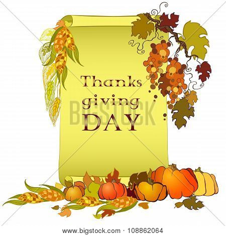 Thanksgiving Day Banner With Scroll, Turkey, Pumpkin And Corn