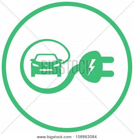 Green Electric Car Sign
