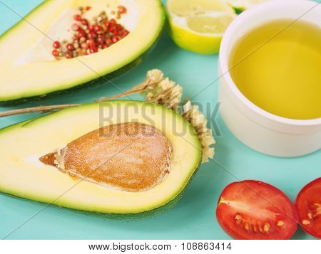Uncooked avocado guacamole ingredients