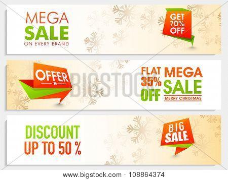 Mega Sale website header or banner set with different discount offer for Merry Christmas celebration.