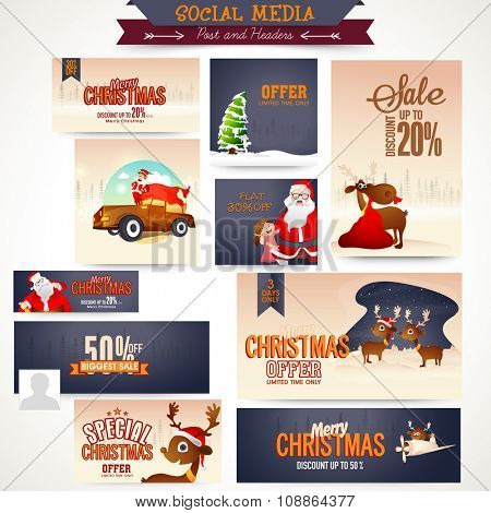 Sale social media ads, post, headers or banners for Merry Christmas celebration.
