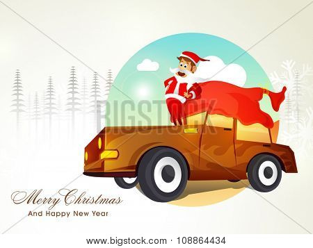 Cute Santa Claus standing on a stylish car on fir trees decorated background for Merry Christmas and Happy New Year celebration.