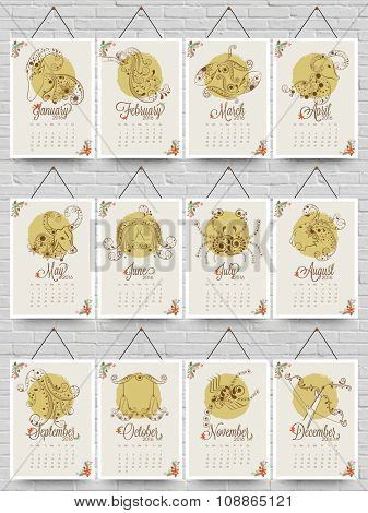 Creative Annual Calendar of 2016 with stylish Zodiac Signs for Happy New Year celebration.