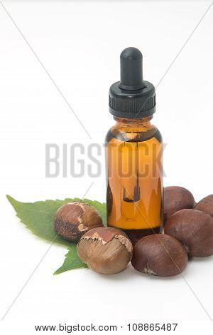 Bottle Of Essential Chestnut Oil , Spa Massage Oil
