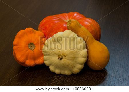 Autumn harvest -  pumpkins and squash. Pumpkin and zucchini varieties.