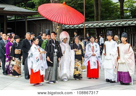 Tokyo, Japan - October 10, 2015: Celebration Of A Typical Shinto Wedding At Meiji Jingu Shrine In To