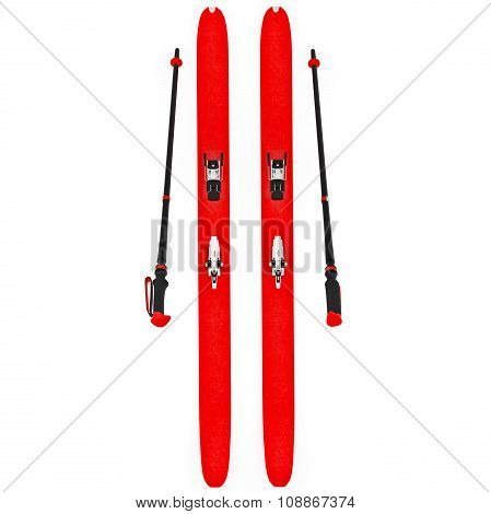Skiing red ski poles, top view